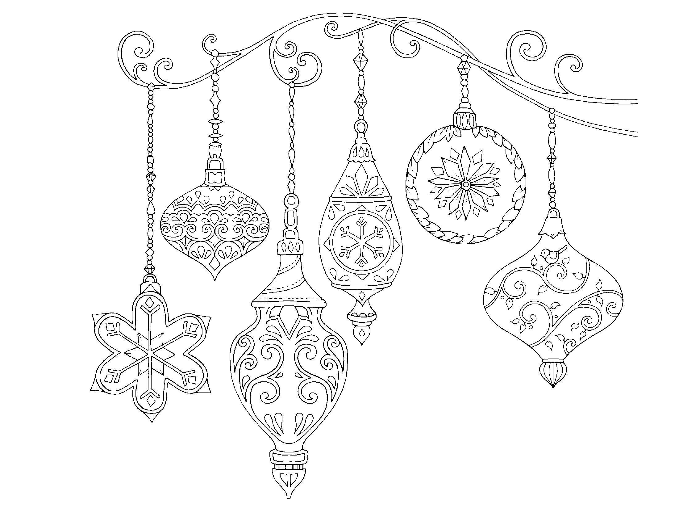 Раскраски антистресс «Новогодние украшения шары подвески», чтобы распечатать