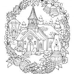 Раскраски сложные для взрослых антистресс «Церковь в новогодние праздники», чтобы распечатать