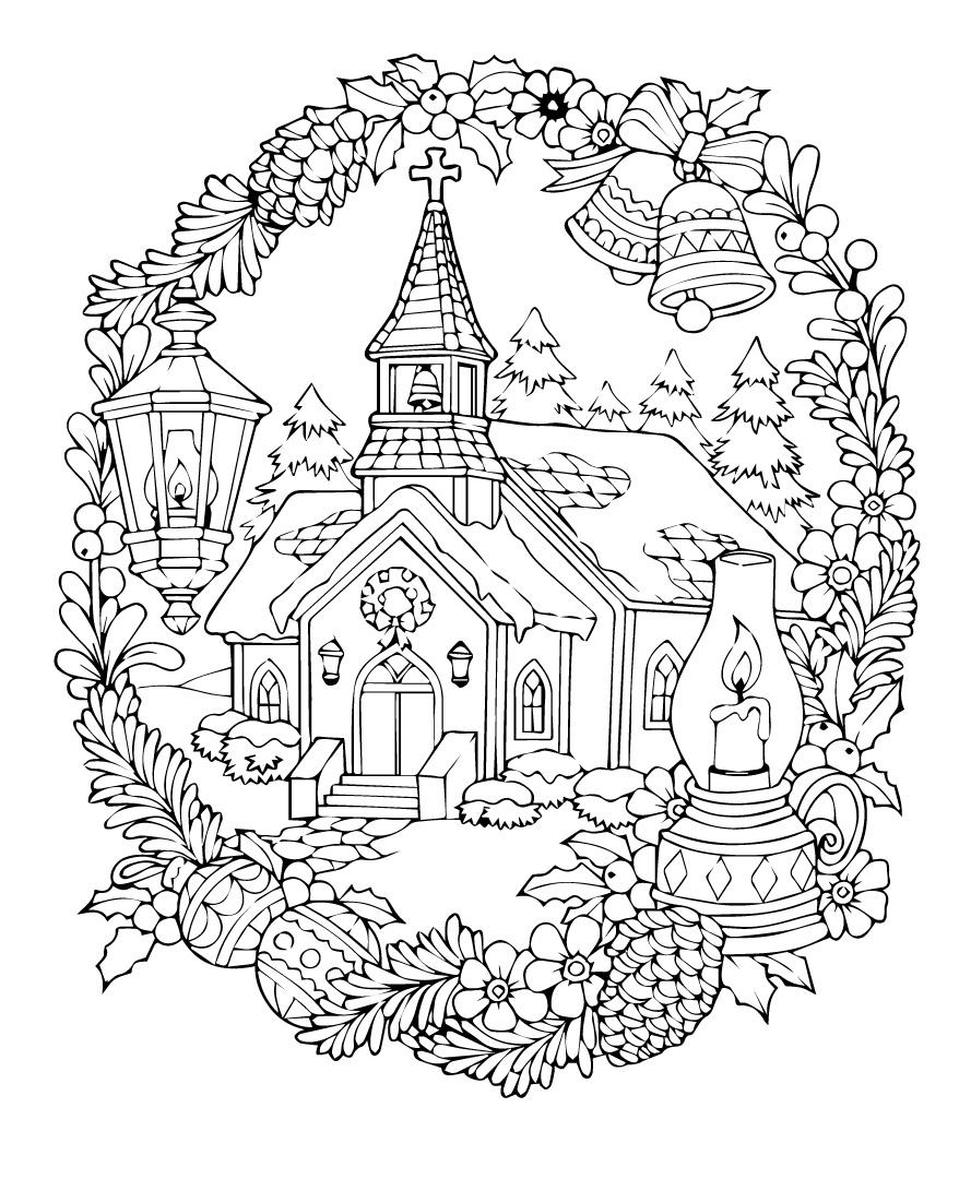 Церковь в новогодние праздники - Новый год - Раскраски ...