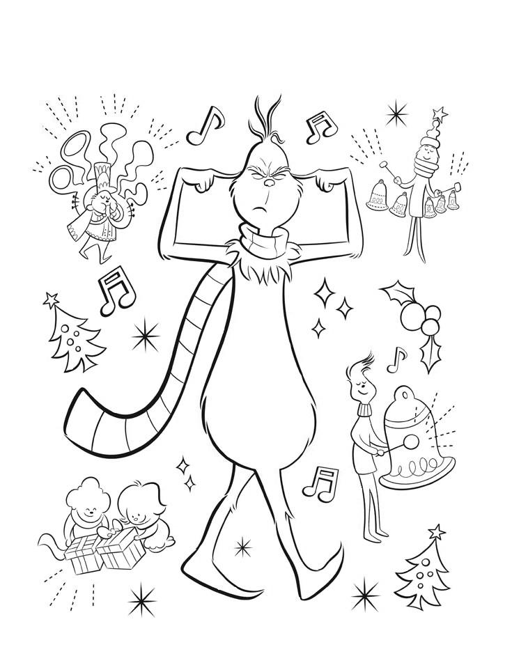 Раскраски для детей из мультика «Мистер Гринч не любит рождество», чтобы распечатать