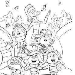 Раскраски для детей Гринч 2018 «Синди Лу с друзьями», чтобы распечатать