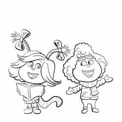 Раскраски для детей из мультика Гринч «Ктошка Синди Лу и ее друг», чтобы распечатать