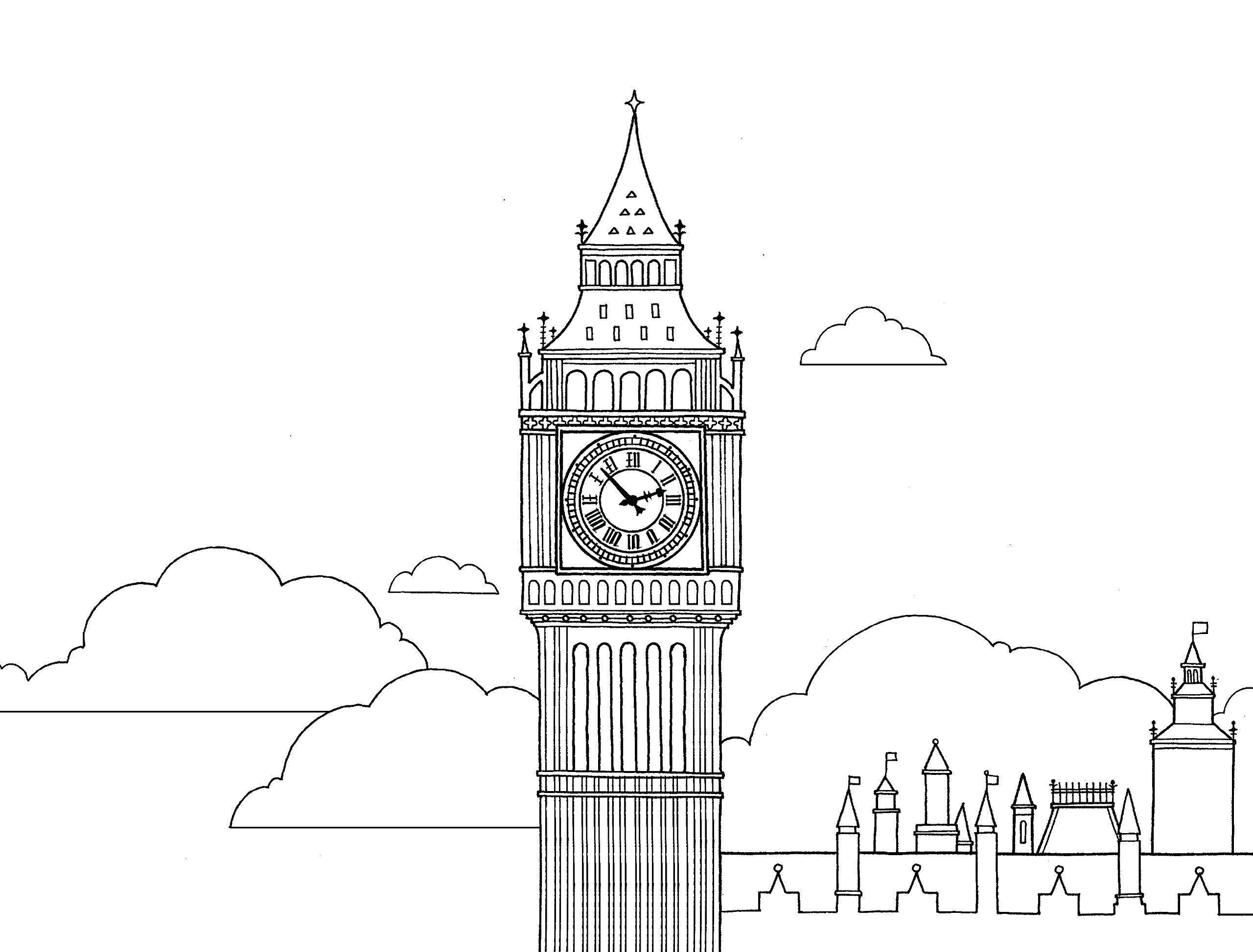 Раскраски сложные для взрослых антистресс «Биг-Бен в Лондоне», чтобы распечатать