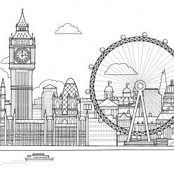 Раскраски сложные для взрослых антистресс города «Лондон», чтобы распечатать