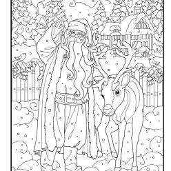 Раскраски сложные для взрослых антистресс «Санта с оленем», чтобы распечатать