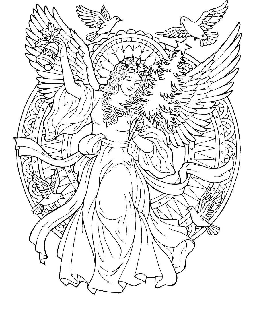 Раскраски сложные для взрослых антистресс «Рождественский ангел», чтобы распечатать