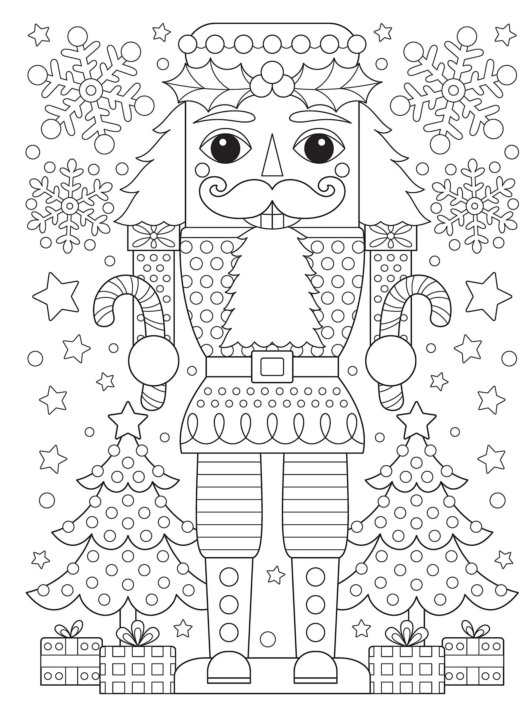 Раскраски антистресс распечатать Новый год Щелкунчик