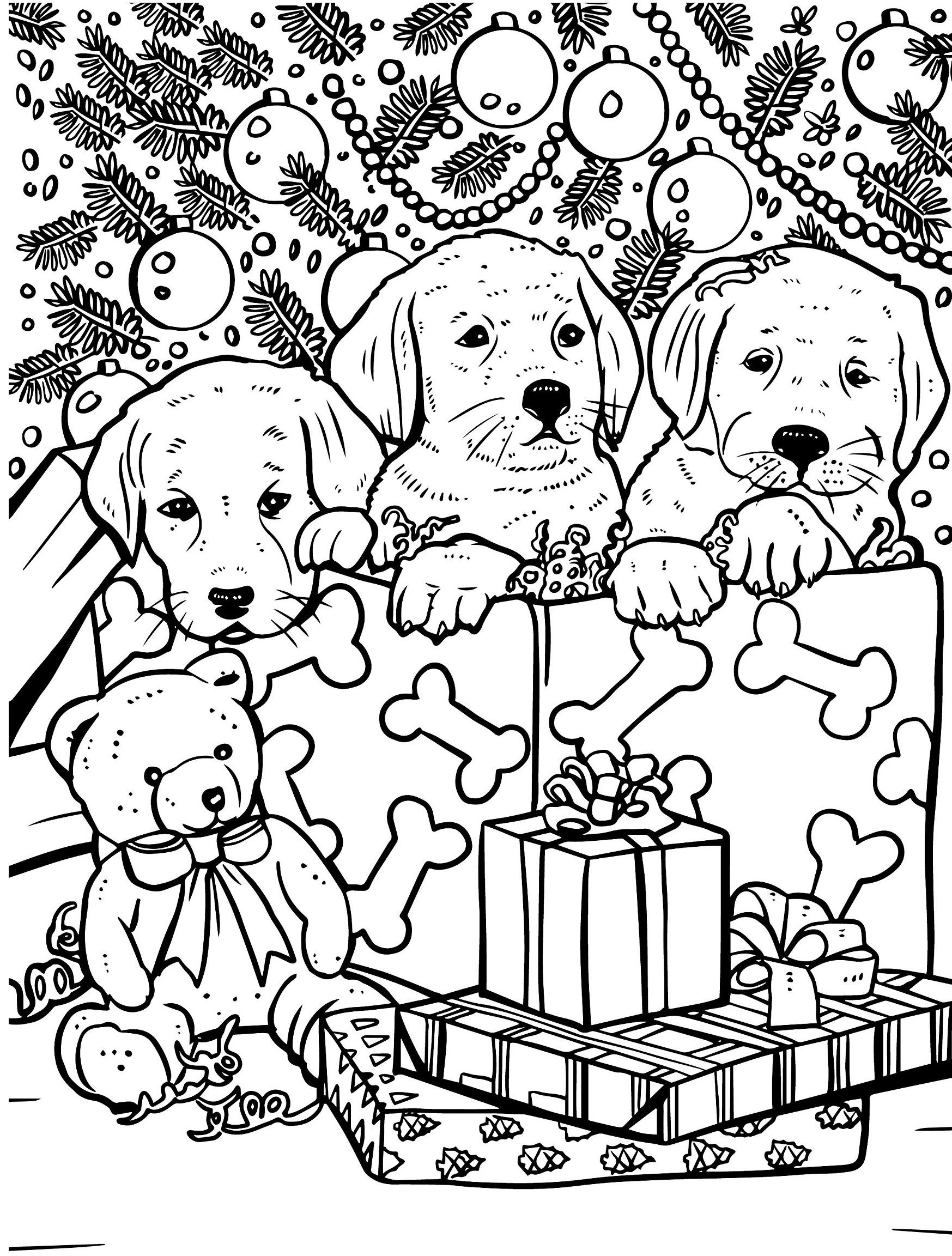 Раскраски антистресс распечатать Новый год Щенки под елкой