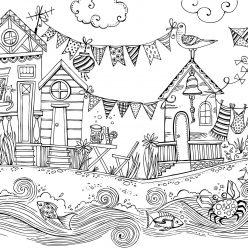 Раскраски сложные для взрослых и детей антистресс «Деревня на берегу реки», чтобы распечатать