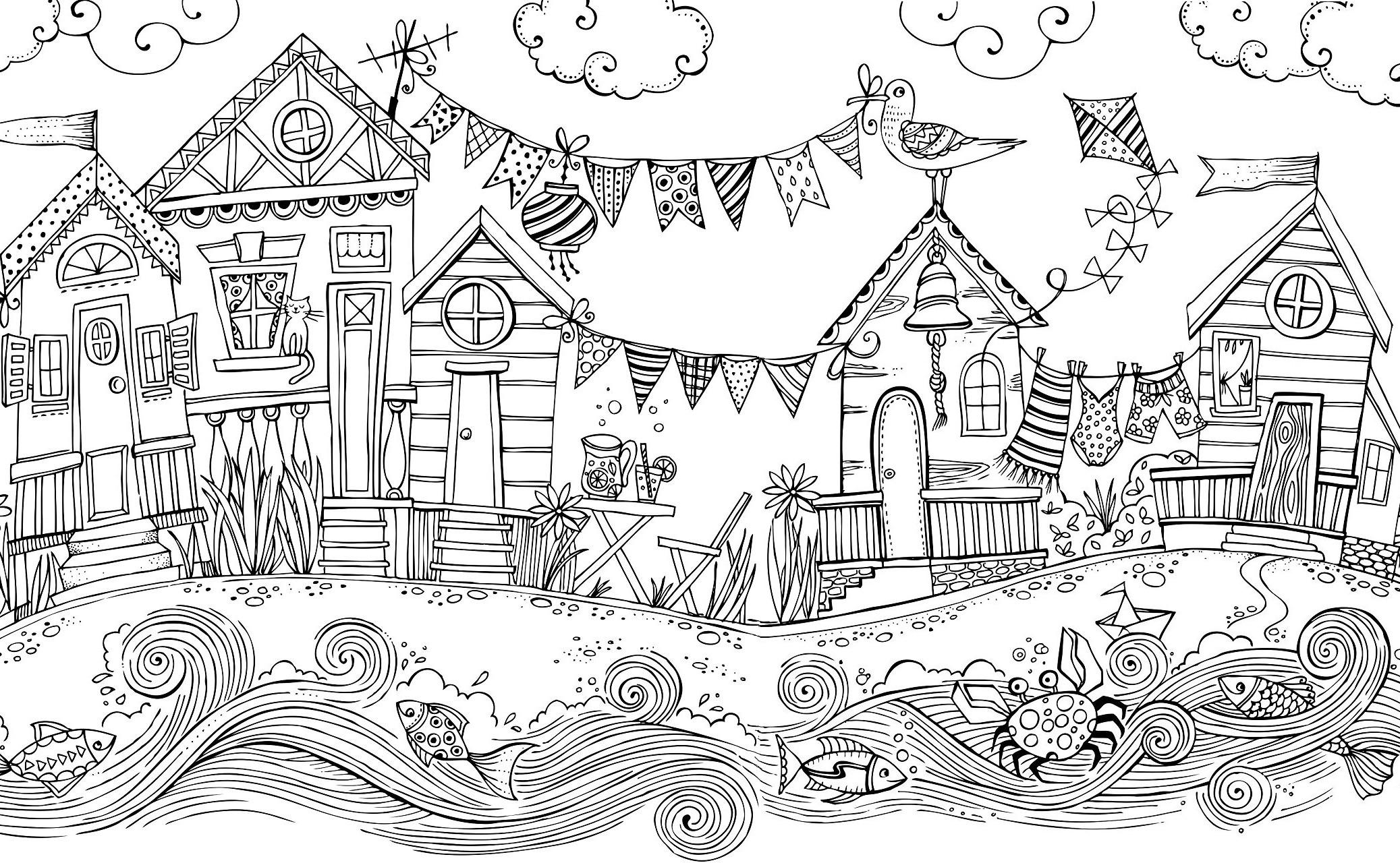 Деревня на берегу реки - Города - Раскраски антистресс