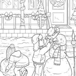 Раскраски сложные антистресс «Дети лепят снеговика», чтобы распечатать