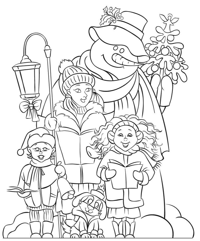 Раскраски сложные для взрослых антистресс «Дети со снеговиком», чтобы распечатать