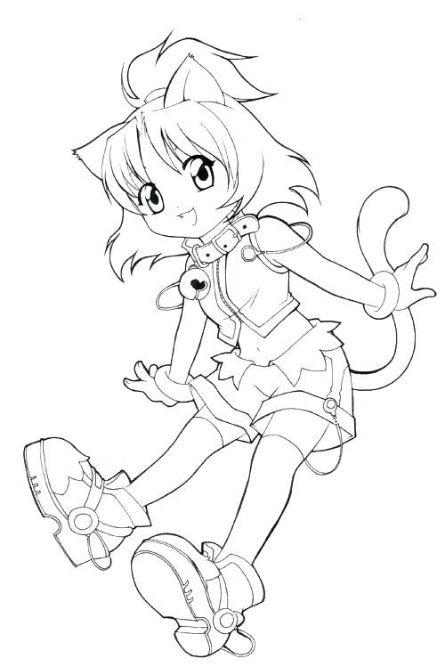 Раскраски аниме для детей антистресс «Девочка кошечка», чтобы распечатать
