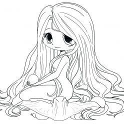 Раскраски аниме для детей антистресс «Русалка», чтобы распечатать