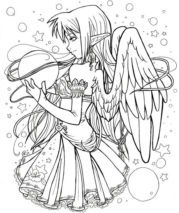Раскраски аниме для детей антистресс «Фея с крыльями», чтобы распечатать