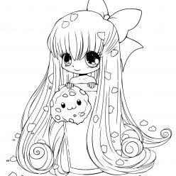Раскраски аниме для детей антистресс «Девочка с печенькой», чтобы распечатать