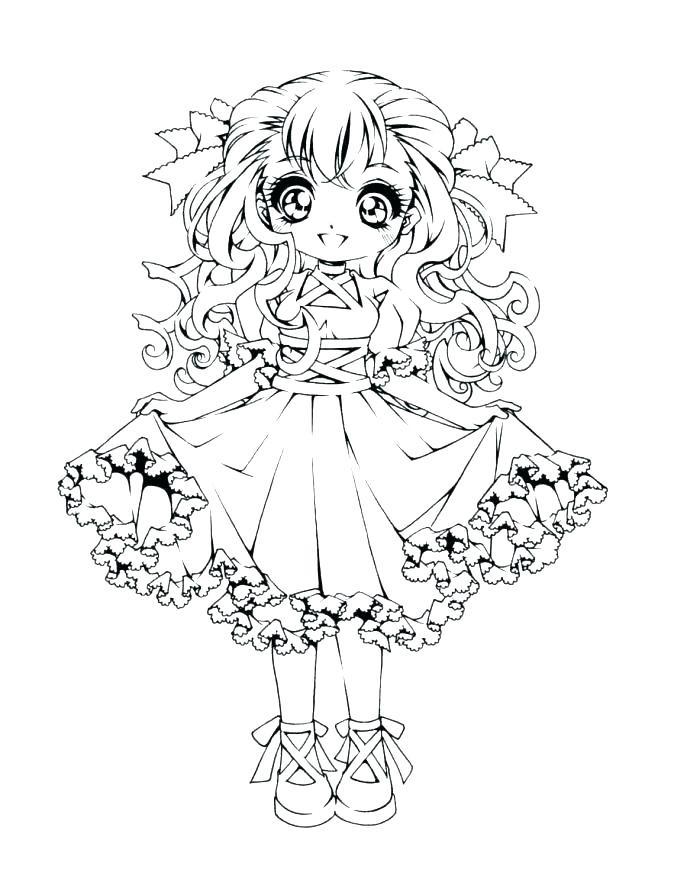 Раскраски аниме для детей антистресс «Нарядная девочка школьница», чтобы распечатать
