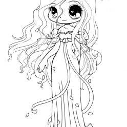 Раскраски аниме для детей антистресс «Девочка невеста», чтобы распечатать