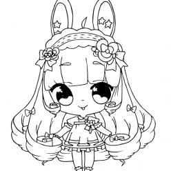 Раскраски аниме для детей антистресс «Девочка зайчик», чтобы распечатать