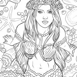 Раскраски для взрослых антистресс «Красивая девушка русалка», чтобы распечатать