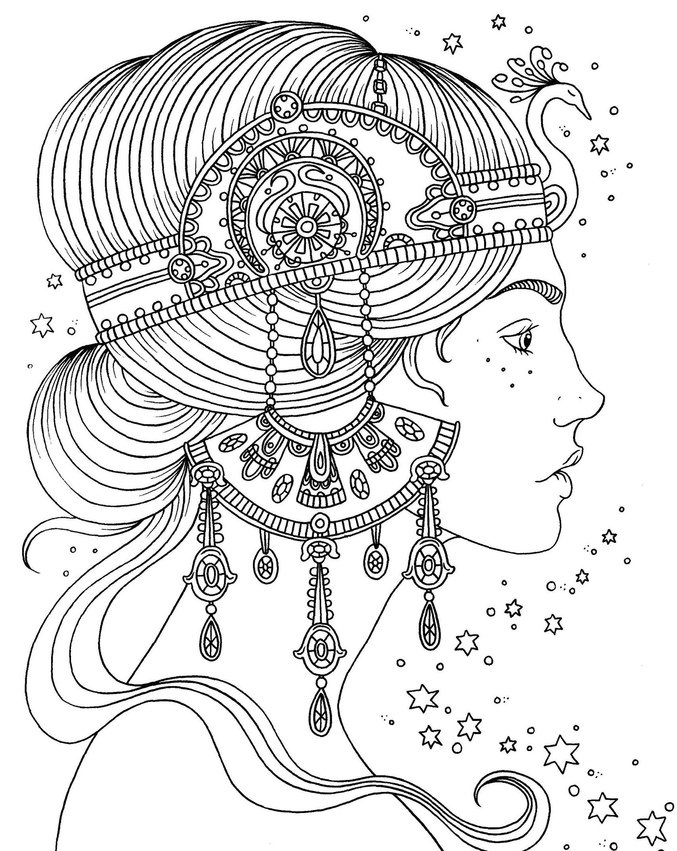 Раскраски антистресс «Девушка с украшением-ободком на голове», чтобы распечатать