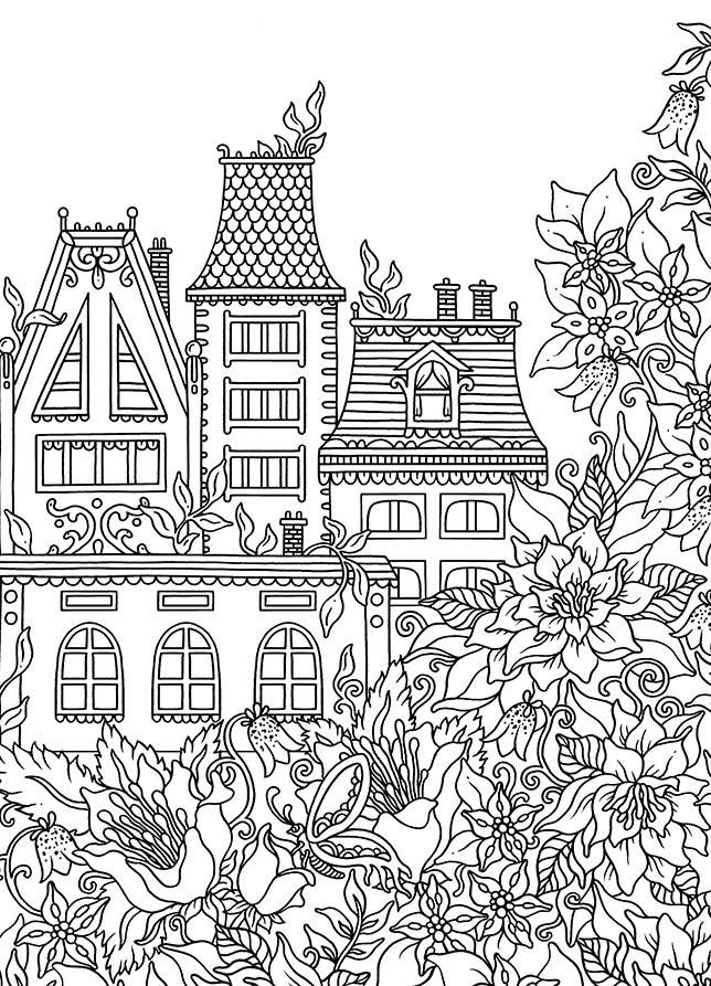 Раскраски сложные для взрослых антистресс «Дом с цветами», чтобы распечатать