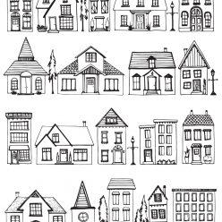 Раскраски сложные для взрослых антистресс «Дома и коттеджи», чтобы распечатать