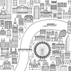 Раскраски сложные для взрослых антистресс «Достопримечательности Лондона», чтобы распечатать