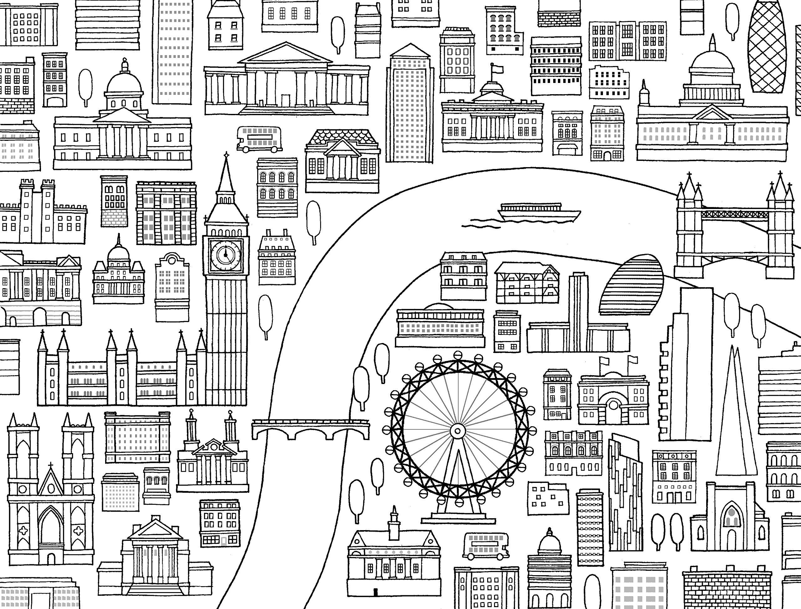Достопримечательности Лондона - Города - Раскраски антистресс