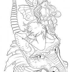Раскраски для взрослых антистресс «Дракон с девушкой на голове», чтобы распечатать