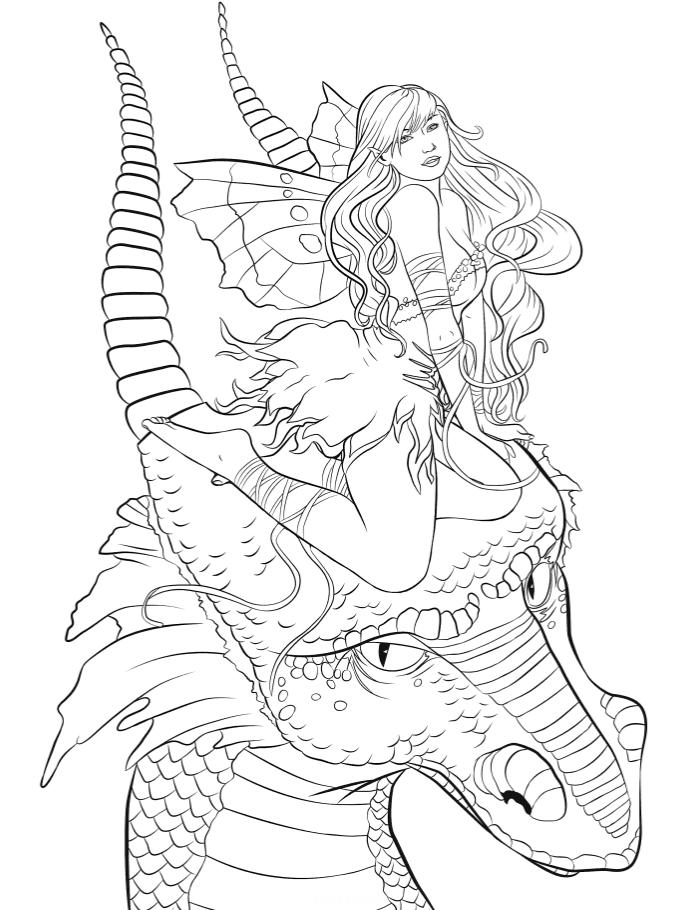 Раскраски антистресс «Дракон с девушкой на голове», чтобы распечатать