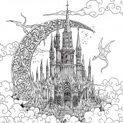 Раскраски антистресс распечатать Драконы летают над замком