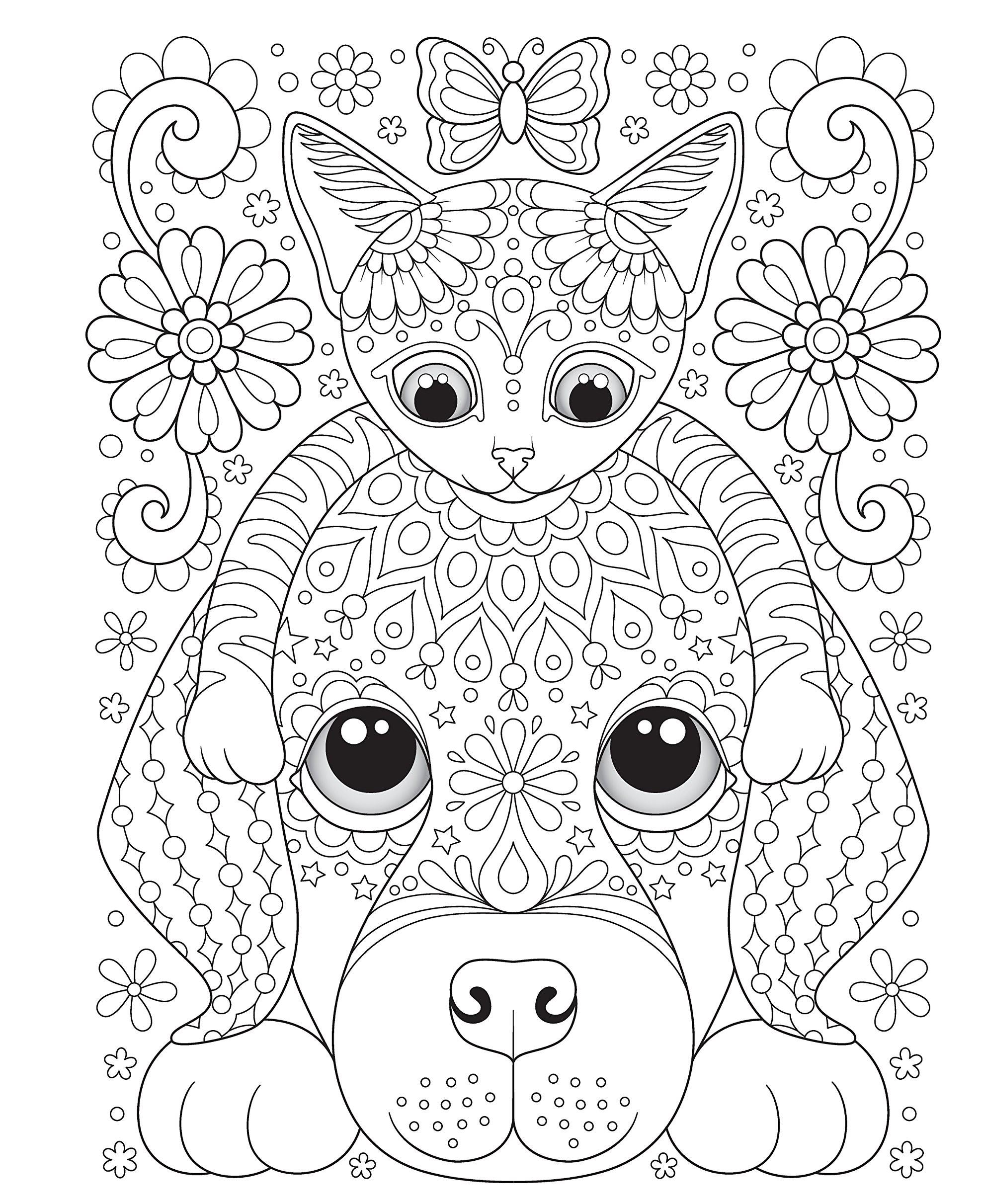 Раскраски сложные для взрослых антистресс «Дружба - кошка и собака», чтобы распечатать