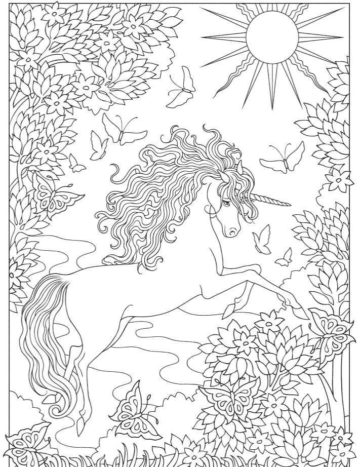 Сложные раскраски антистресс «Единорог на рассвете», чтобы распечатать