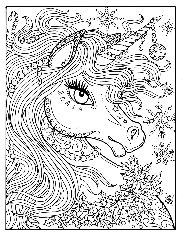 Раскраски антистресс «Единорог в новый год», чтобы распечатать