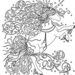 Картинка для раскрашивания «Единорог с волшебной гривой», чтобы распечатать