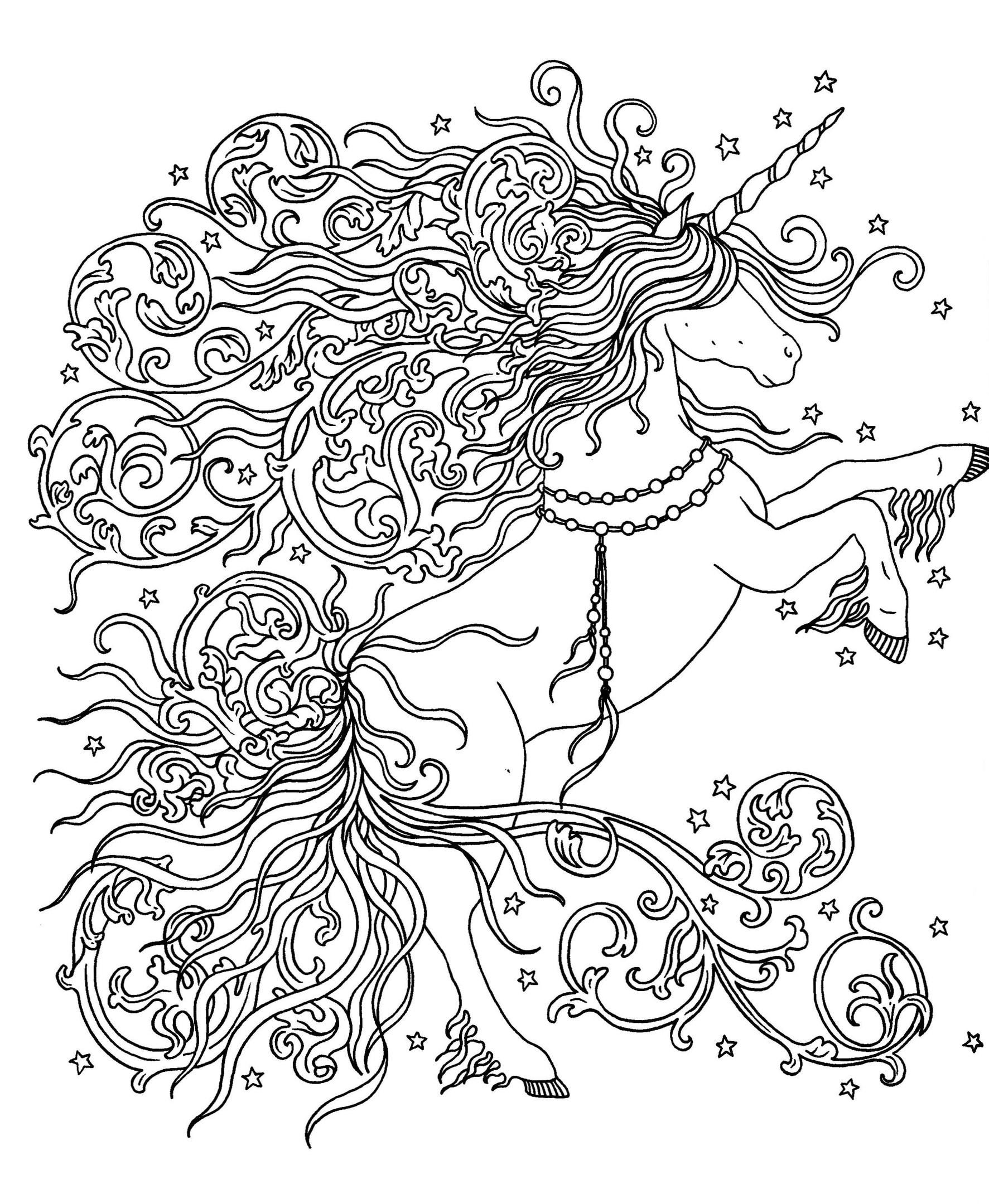 Раскраски антистресс «Единорог с волшебной гривой», чтобы распечатать