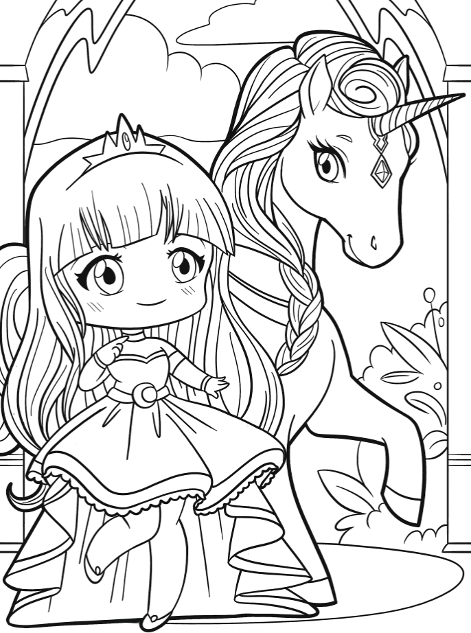 Раскраски сложные антистресс «Единорог с принцессой аниме», чтобы распечатать