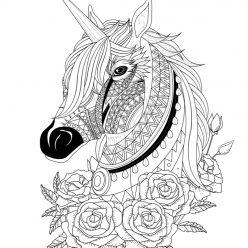 Раскраски для взрослых антистресс «Голова единорога с розами», чтобы распечатать
