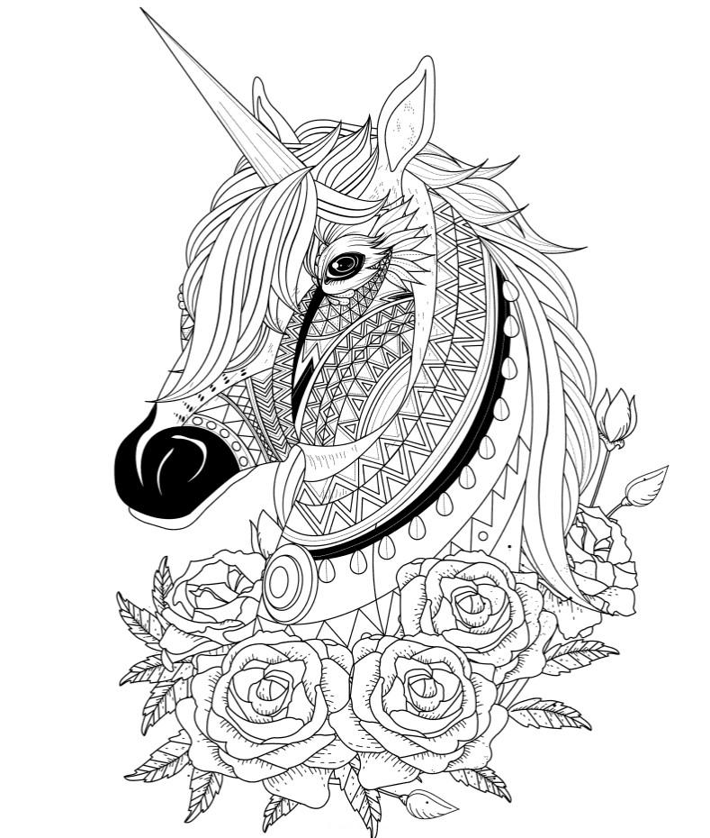 Голова единорога с розами - Единороги - Раскраски антистресс