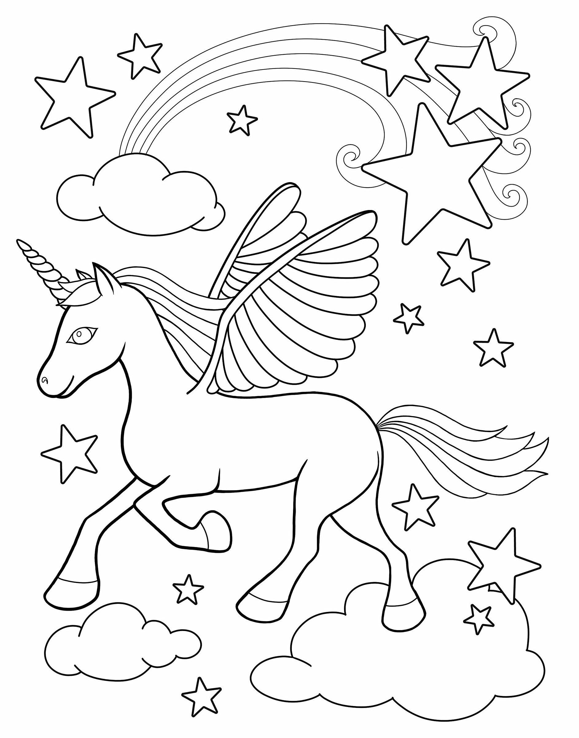 Раскраски антистресс для детей «Единорог на облаках», чтобы распечатать и раскрасить онлайн