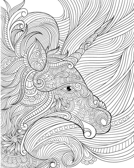 Сложная раскраска для взрослых антистресс «Голова единорога», чтобы распечатать