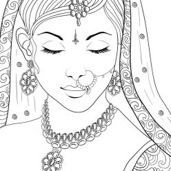 Раскраски сложные для взрослых антистресс «Индианка в красивом наряде», чтобы распечатать
