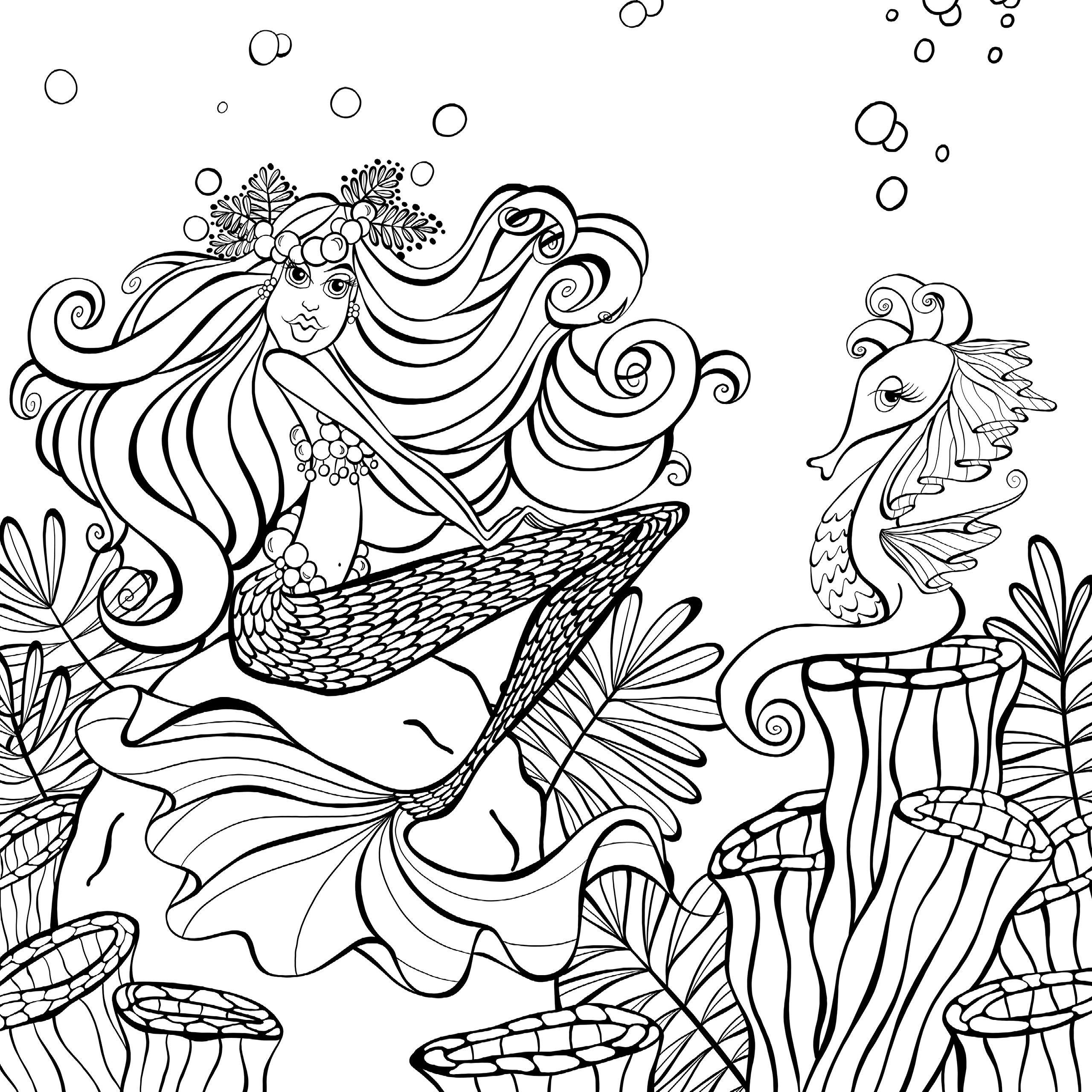 Раскраски для взрослых антистресс «Смешная русалка красавица», чтобы распечатать