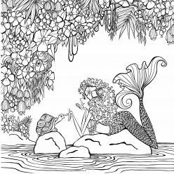 Раскраски для взрослых антистресс «Смешная русалка на камнях», чтобы распечатать