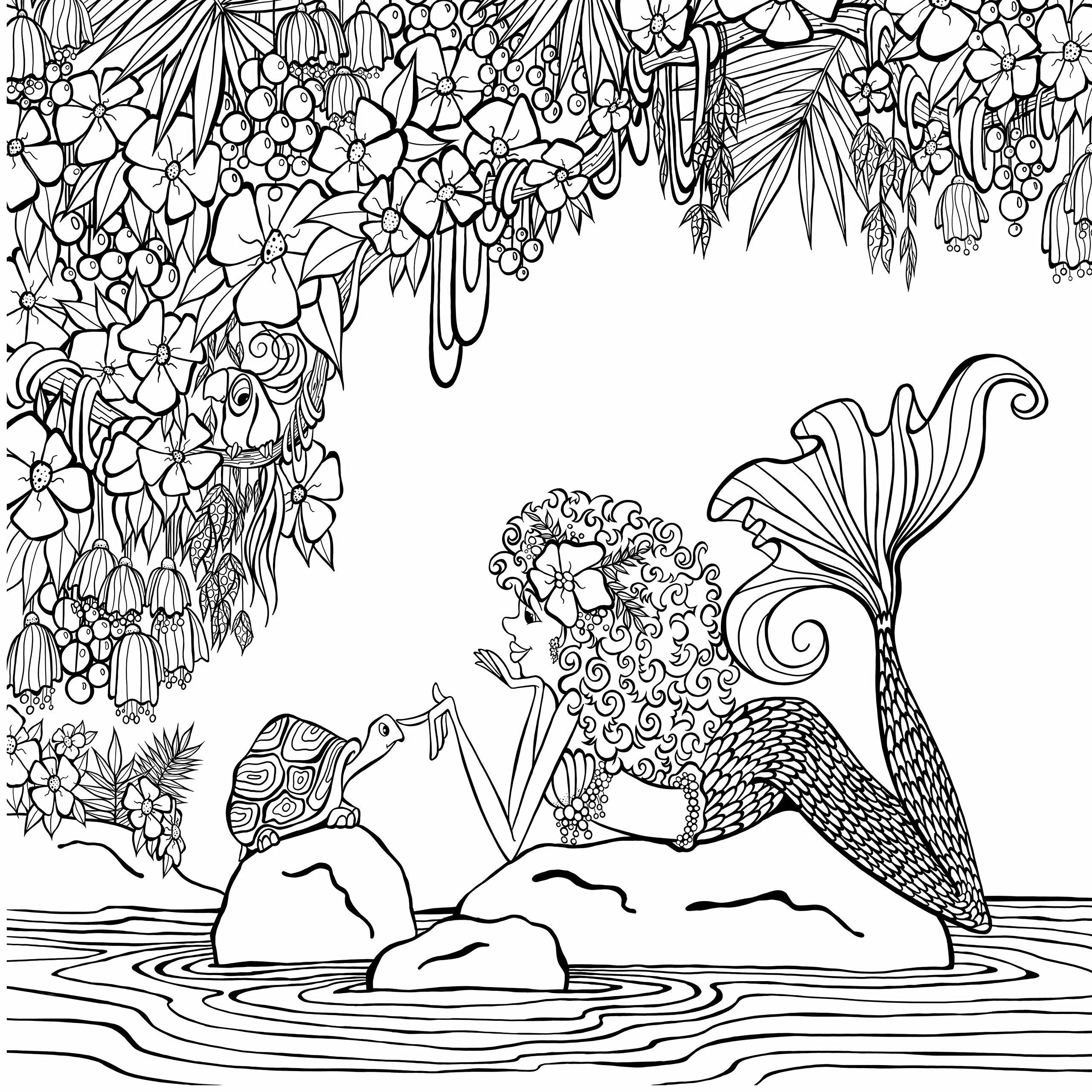 смешная русалка на камнях русалочки раскраски антистресс