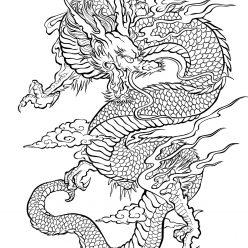 Раскраски антистресс сказочные герои Китайский дракон
