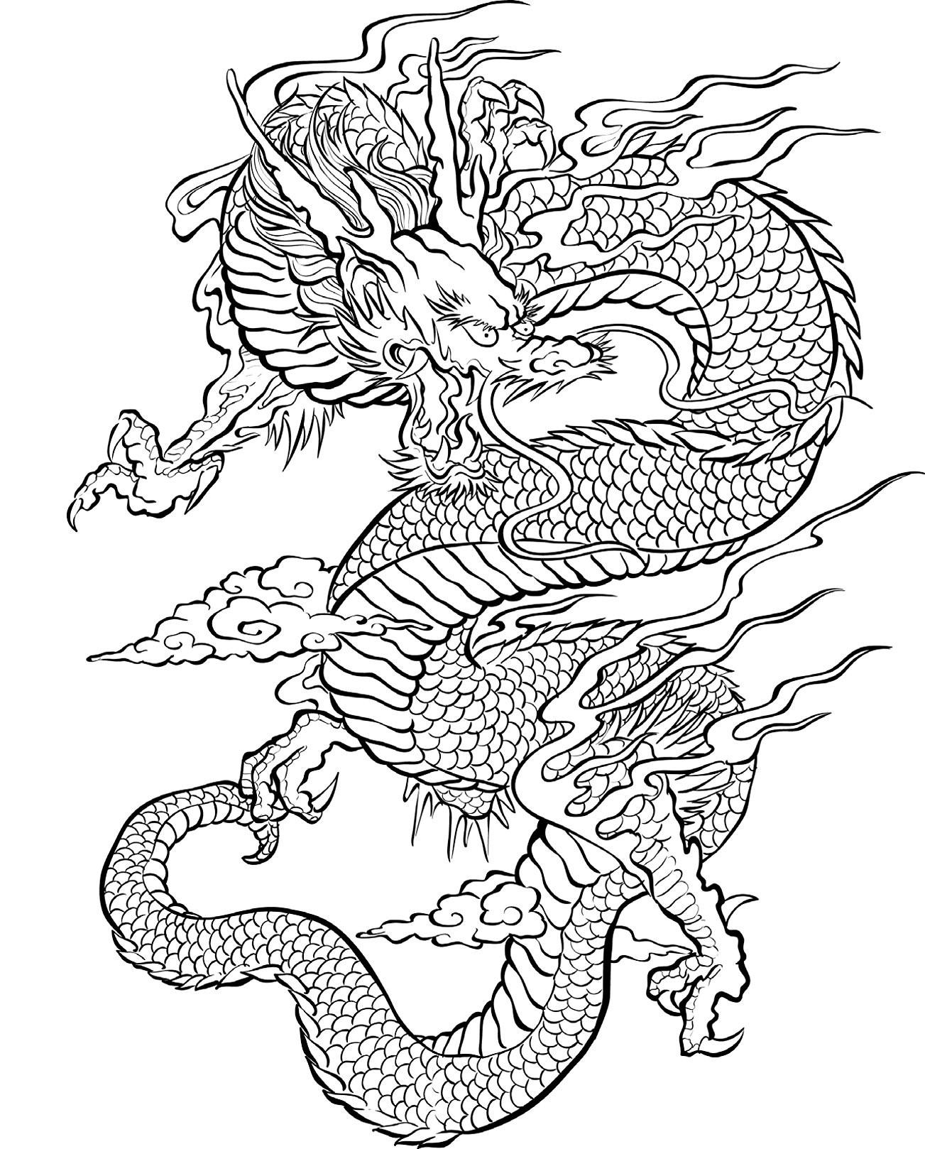 Китайский дракон - Драконы - Раскраски антистресс