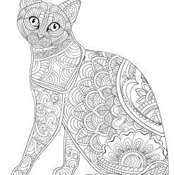 Раскраски сложные для взрослых антистресс «Кошечка с узором», чтобы распечатать