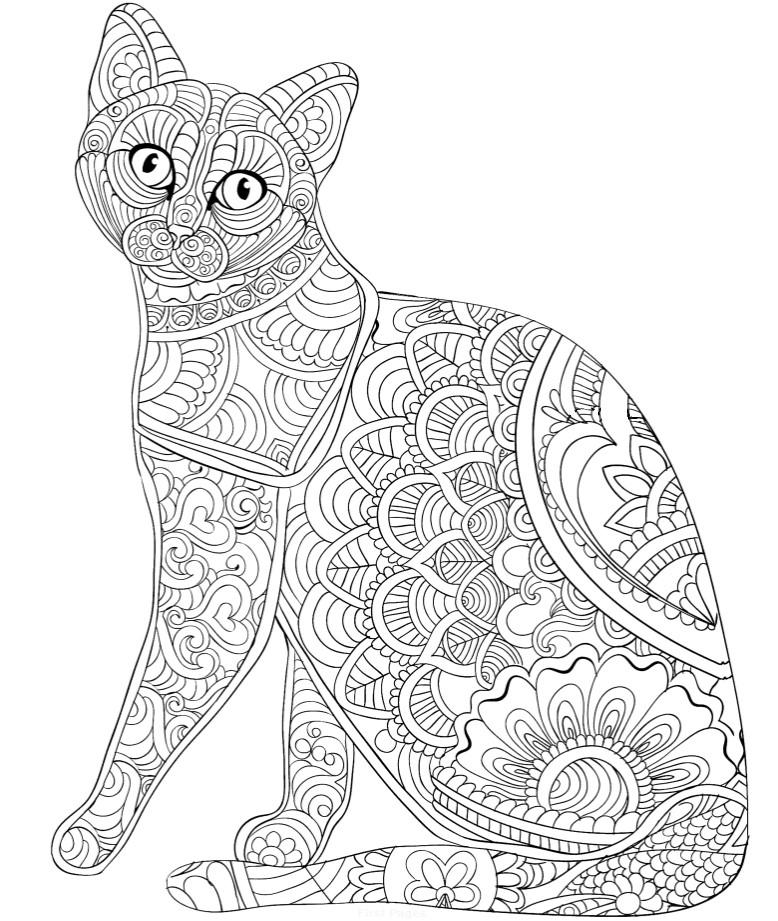 Кошечка с узором - Животные - Раскраски антистресс